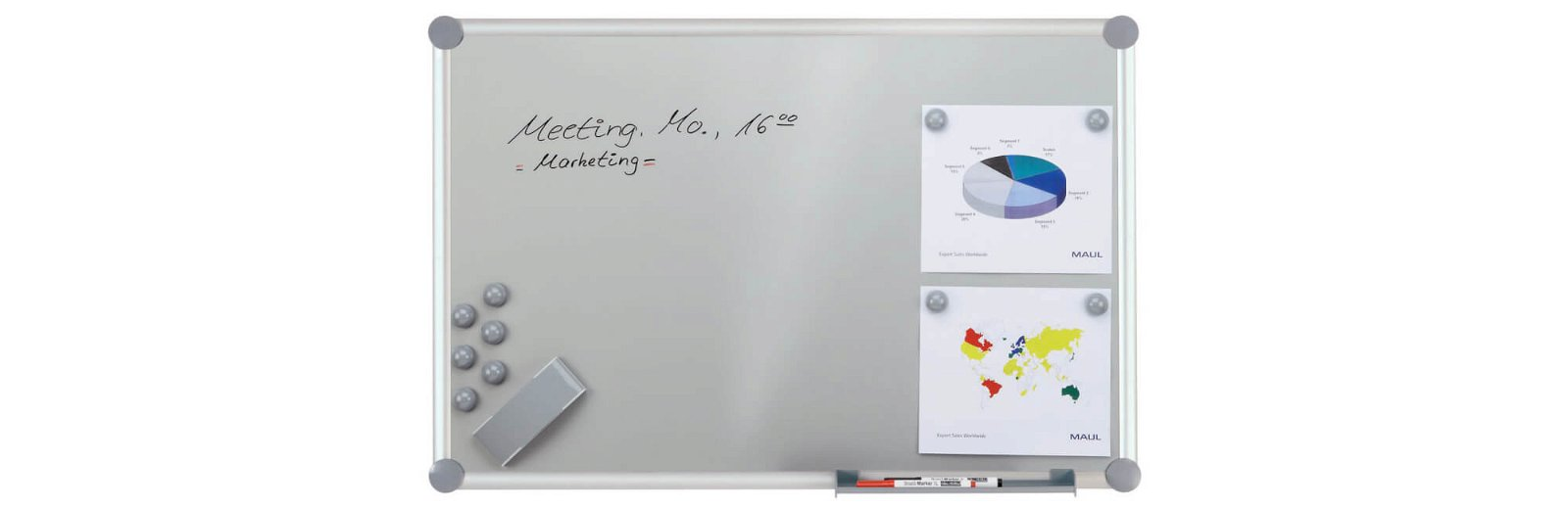 Whiteboard 2000 MAULpro, Komplett-Set silver, 90x120 cm, grau
