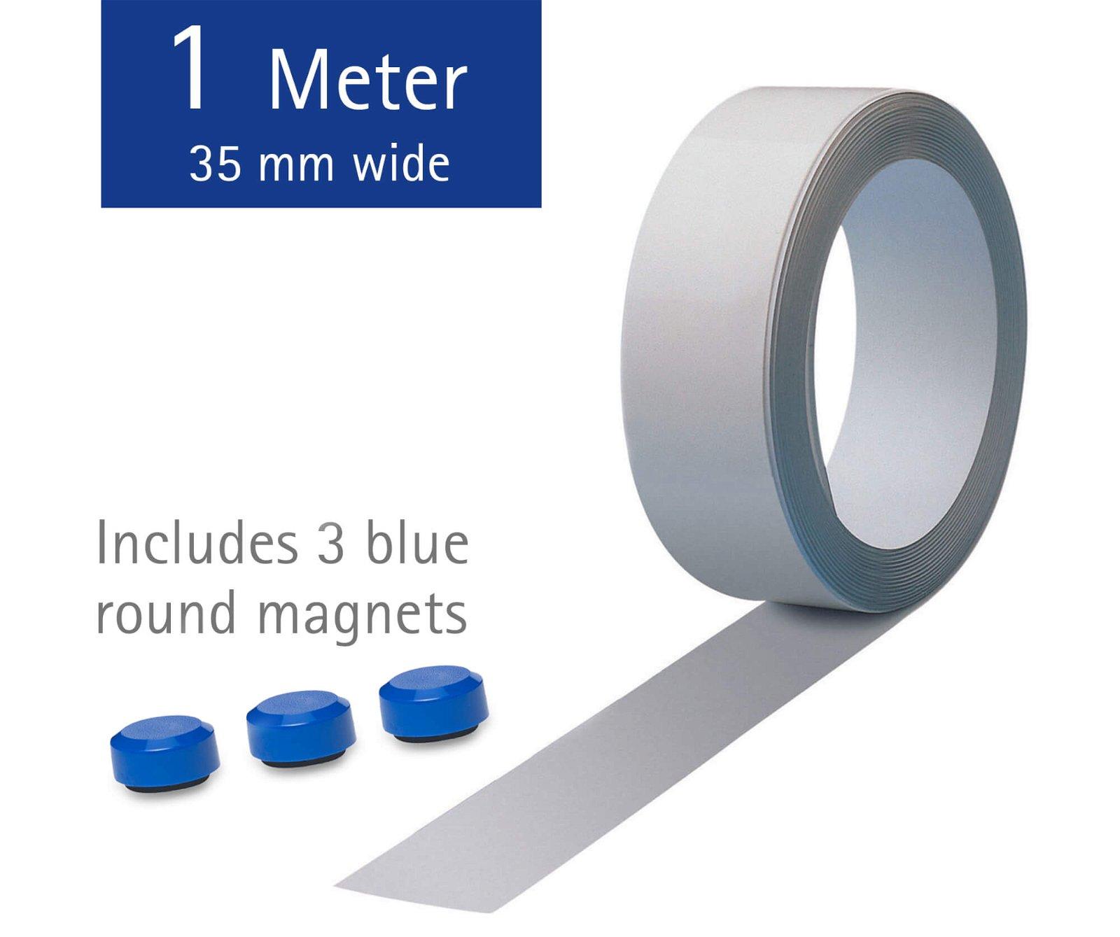 Ferroband, Länge 1 m, inkl. 3 Magnete, weiß