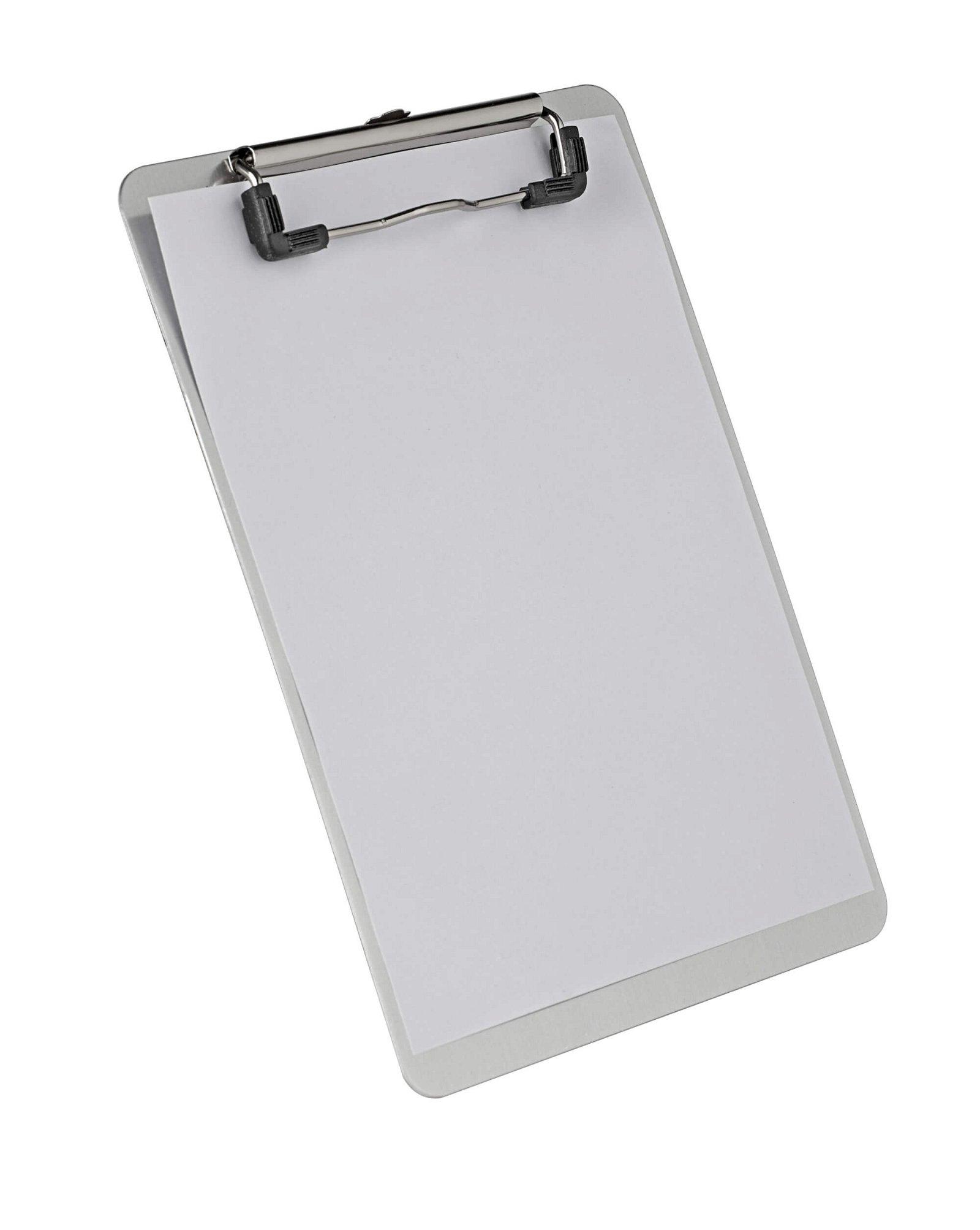A5 Schreibplatte Aluminium mit Bügelklemme, aluminium
