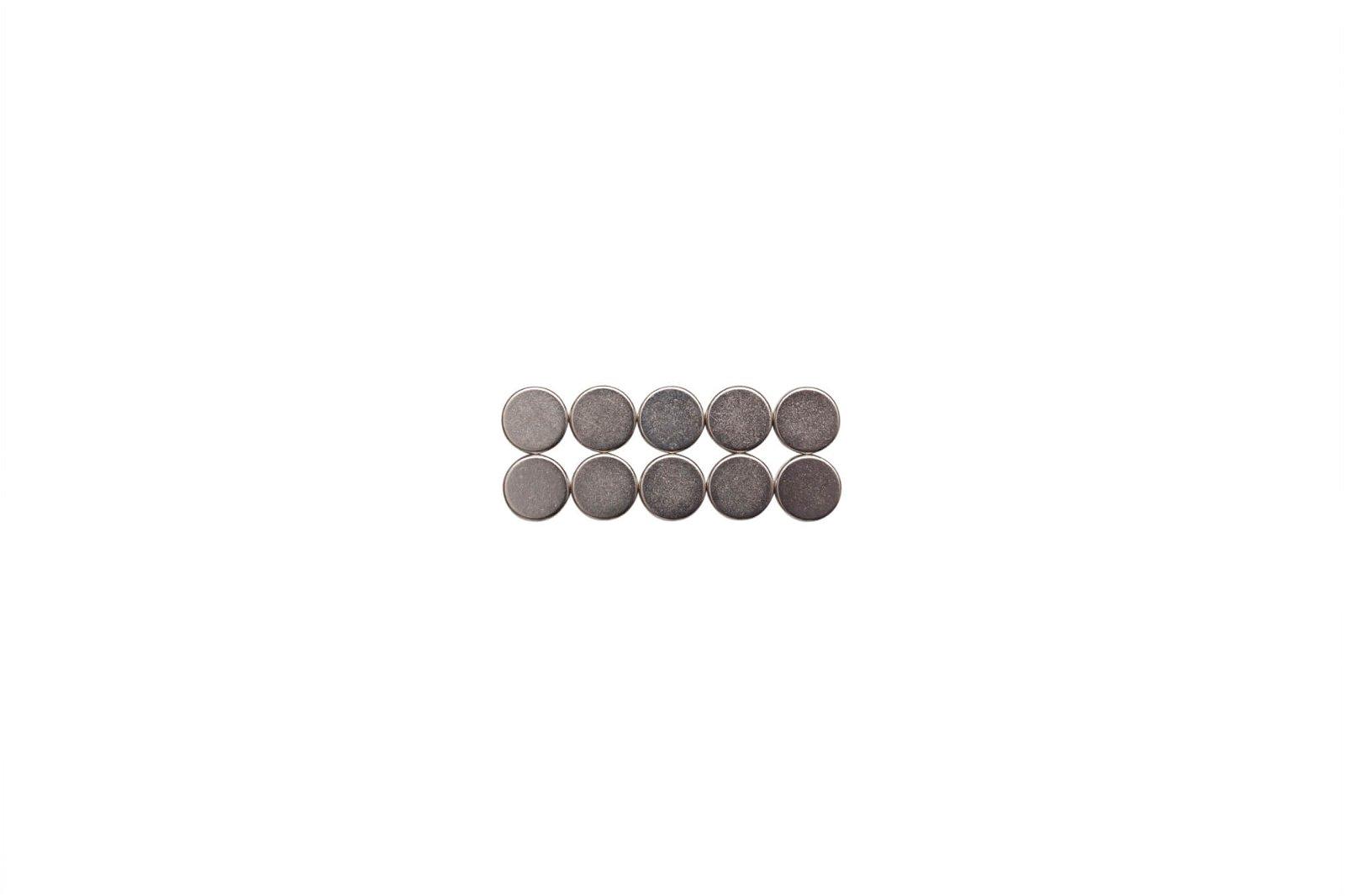Neodym-Magnet, Ø 10x3 mm, 2 kg Haftkraft, 10 St./Set, hellsilber