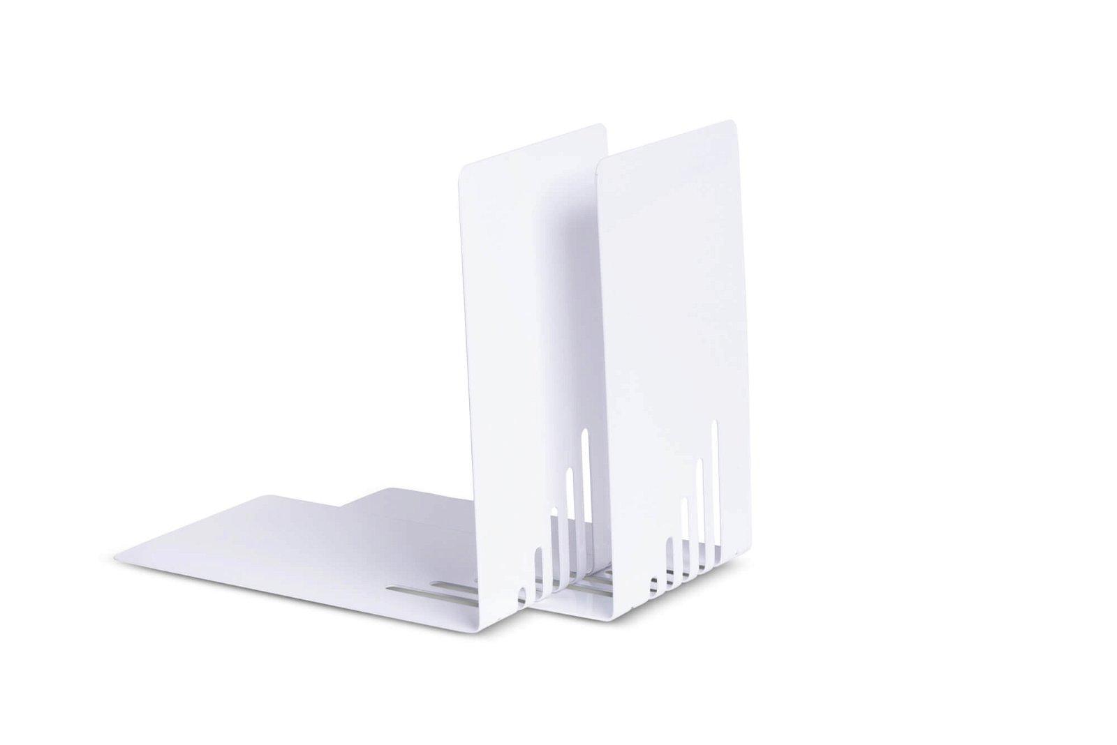 Buchstützen aus Metall, schmal, 14 x 8,5 x 14 cm, weiß