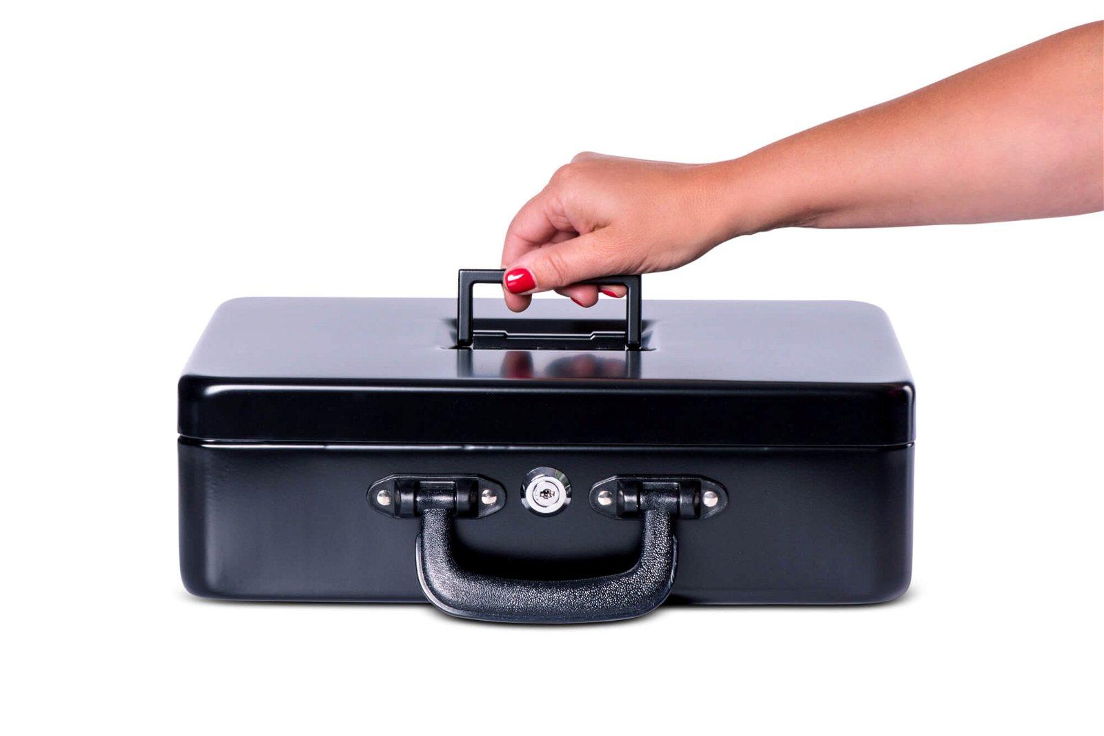 Geldkassette mit Euro-Zähl- -Einsatz, 36 x 26,5 x 11,2 cm, schwarz