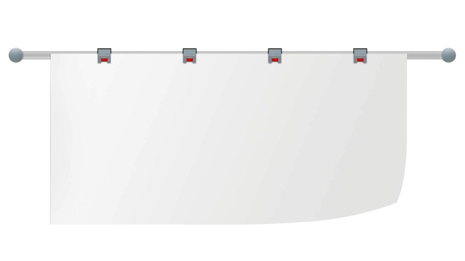 Planhalter-Wandschiene mit 4 Rollenclips, Länge 100cm, grau