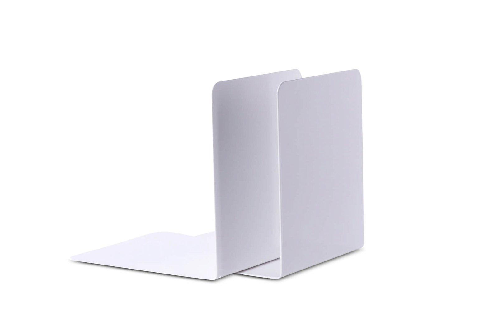Buchstützen aus Metall, breit, 14 x 12 x 14 cm, weiß