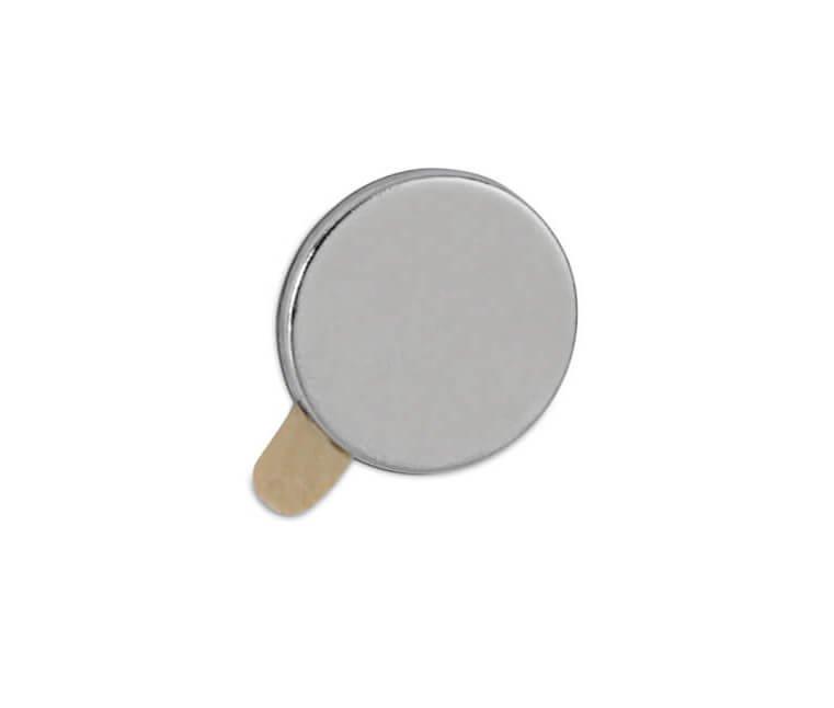 Neodym-Magnet selbstklebend,  Ø 10x1 mm, 0,5 kg, 20 St./Set, hellsilber