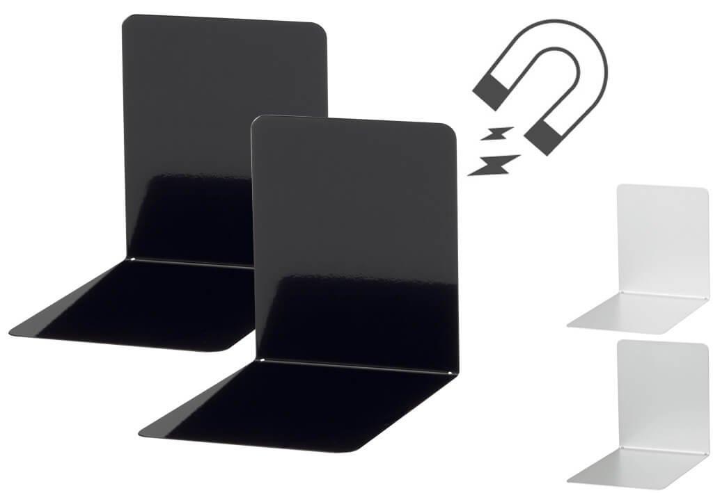 Buchstützen aus Metall, breit, 14 x 12 x 14 cm magnethaftend, schwarz