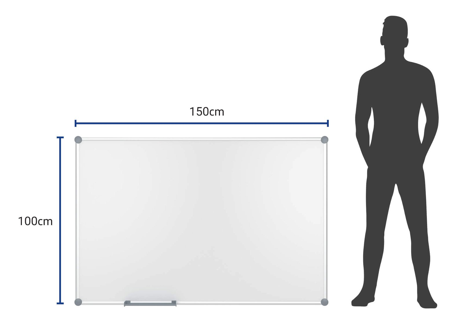 Whiteboard 2000 MAULpro, Emaille, 100x150 cm, grau