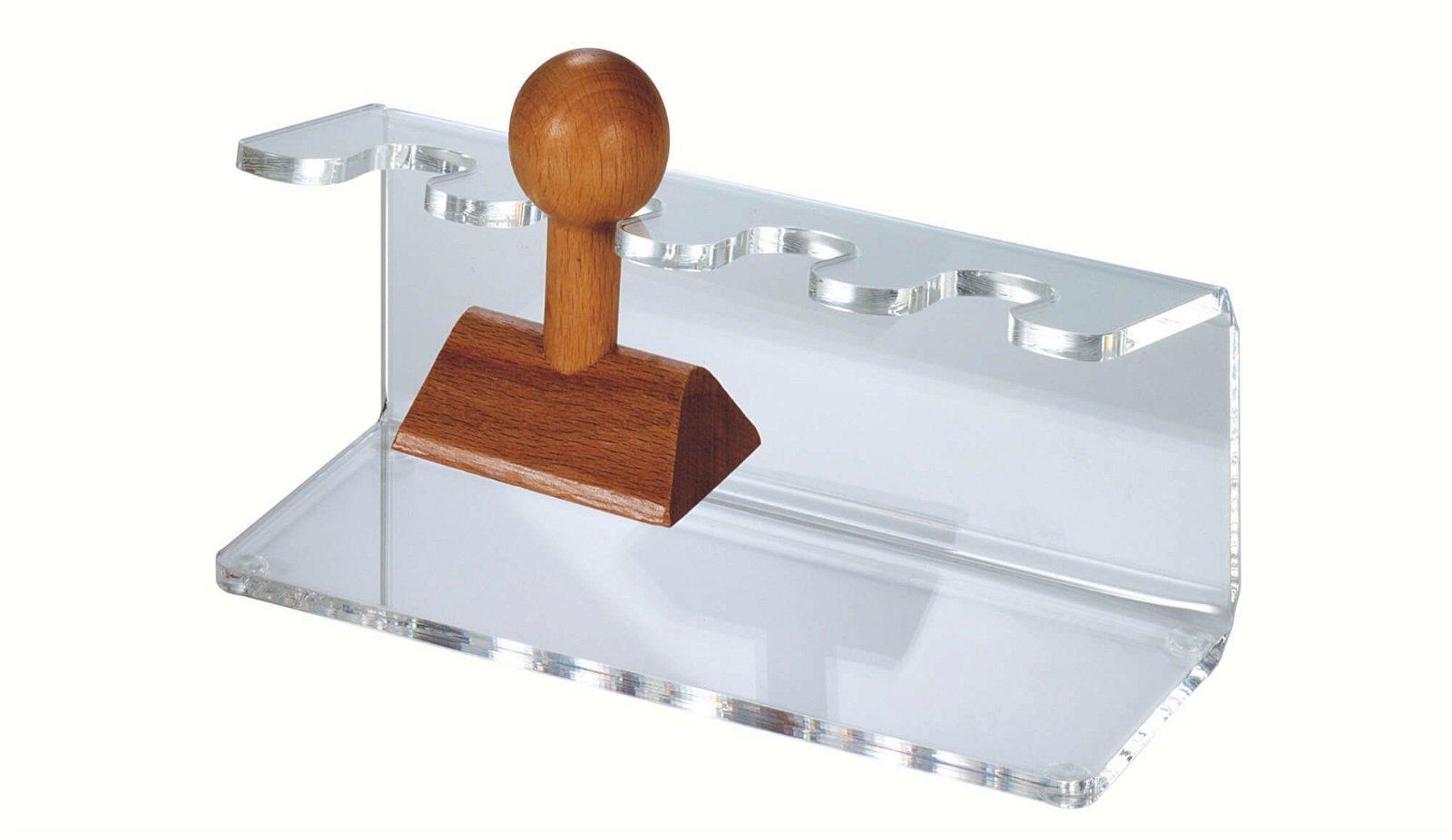 Acryl-Stempelträger, gerade Form, 4 Stempel, glasklar