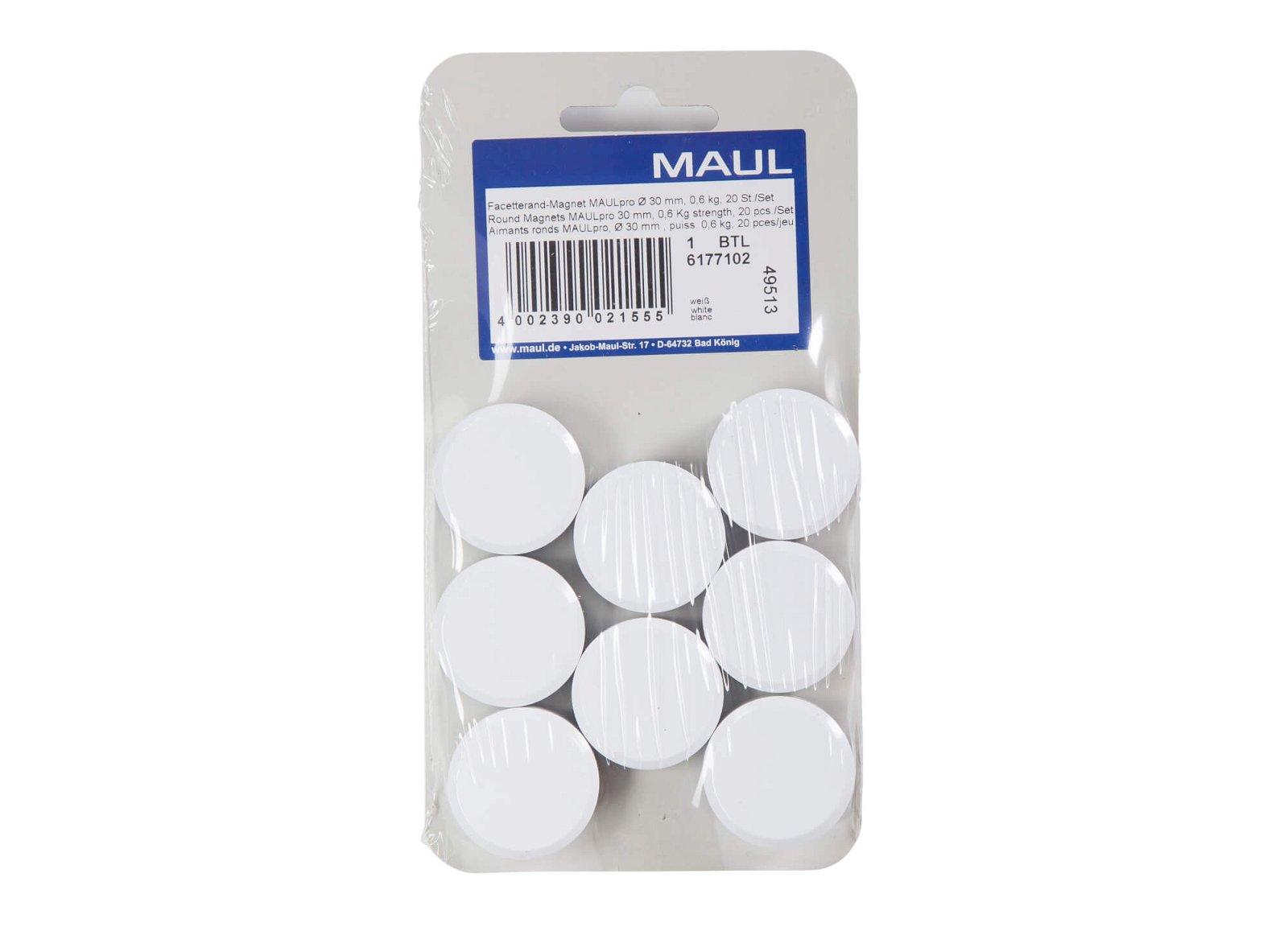 Facetterand-Magnet MAULpro Ø 30 mm, 0,6 kg, 20 St./Set, weiß