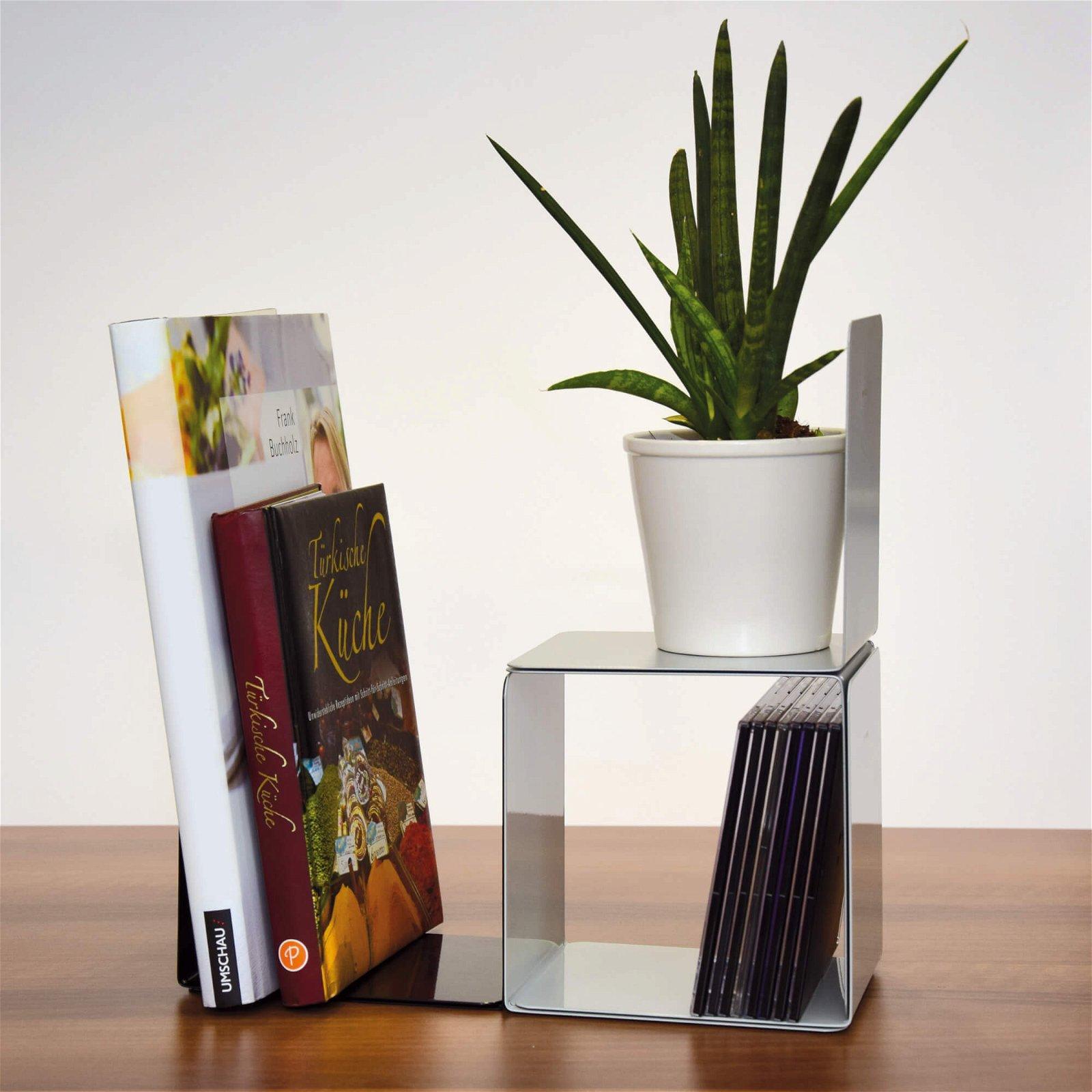 Buchstützen aus Metall, breit, 14 x 12 x 14 cm, magnethaftend, grau