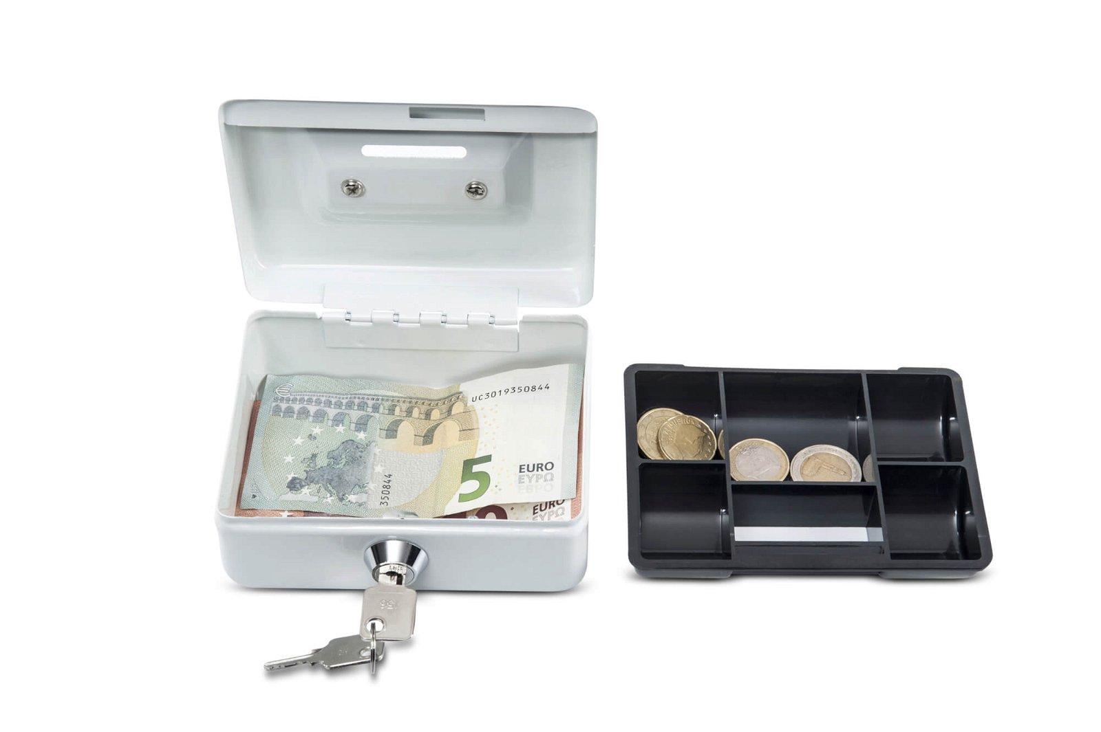 Geldkassette mit Münzeinwurf, 12,5 x 9,5 x 6 cm, weiß