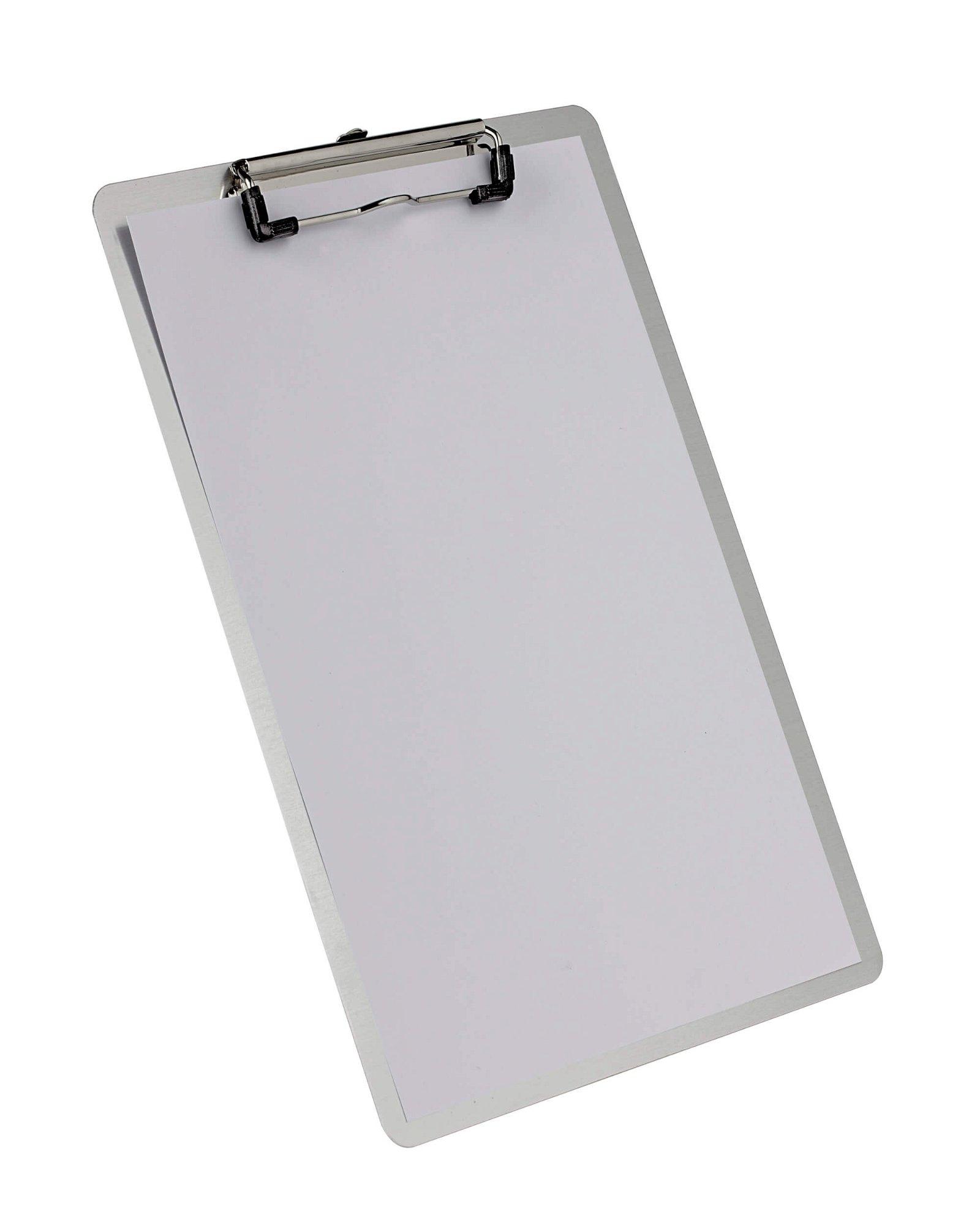 A4 Schreibplatte Aluminium mit Bügelklemme, aluminium