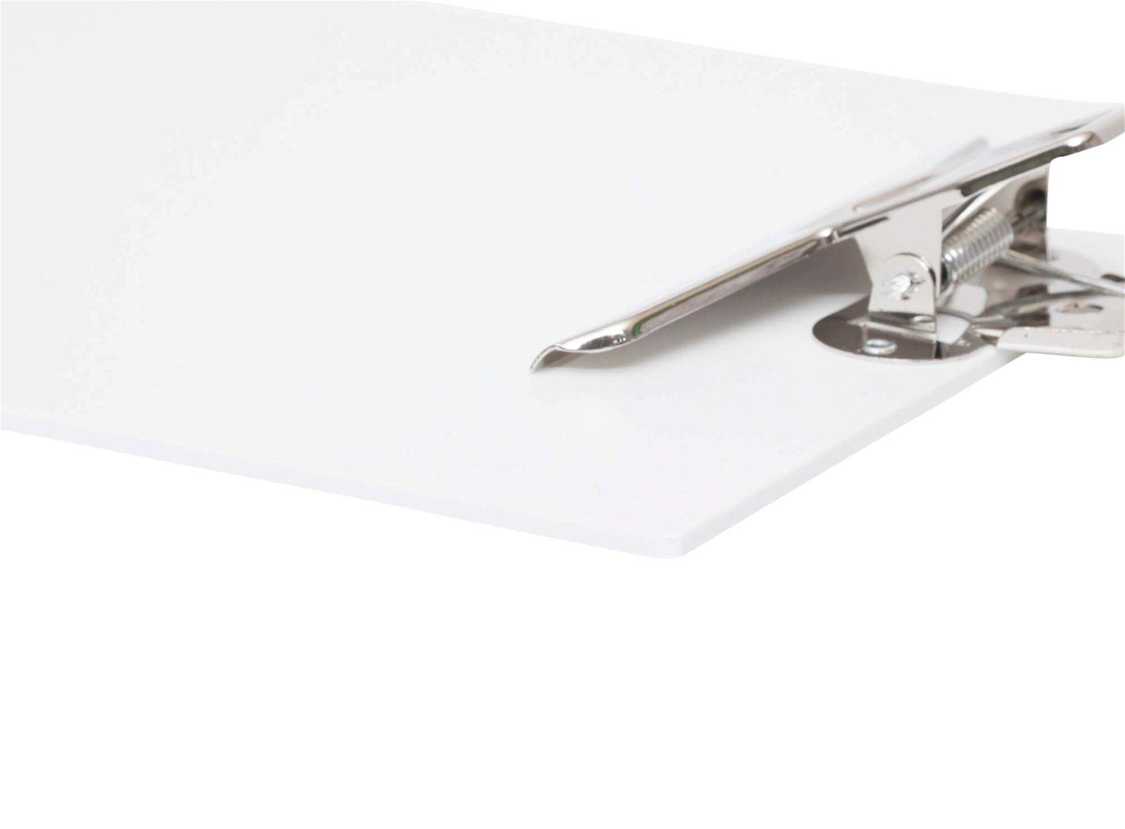 A4 Schreibplatte mit hohem Metall-Klemmer, Kunststoff, weiß