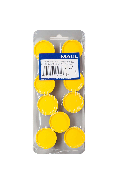 Rund-Magnet, PE Ø 30 mm, 0,6 kg Haftkraft, 10 St./Set, gelb