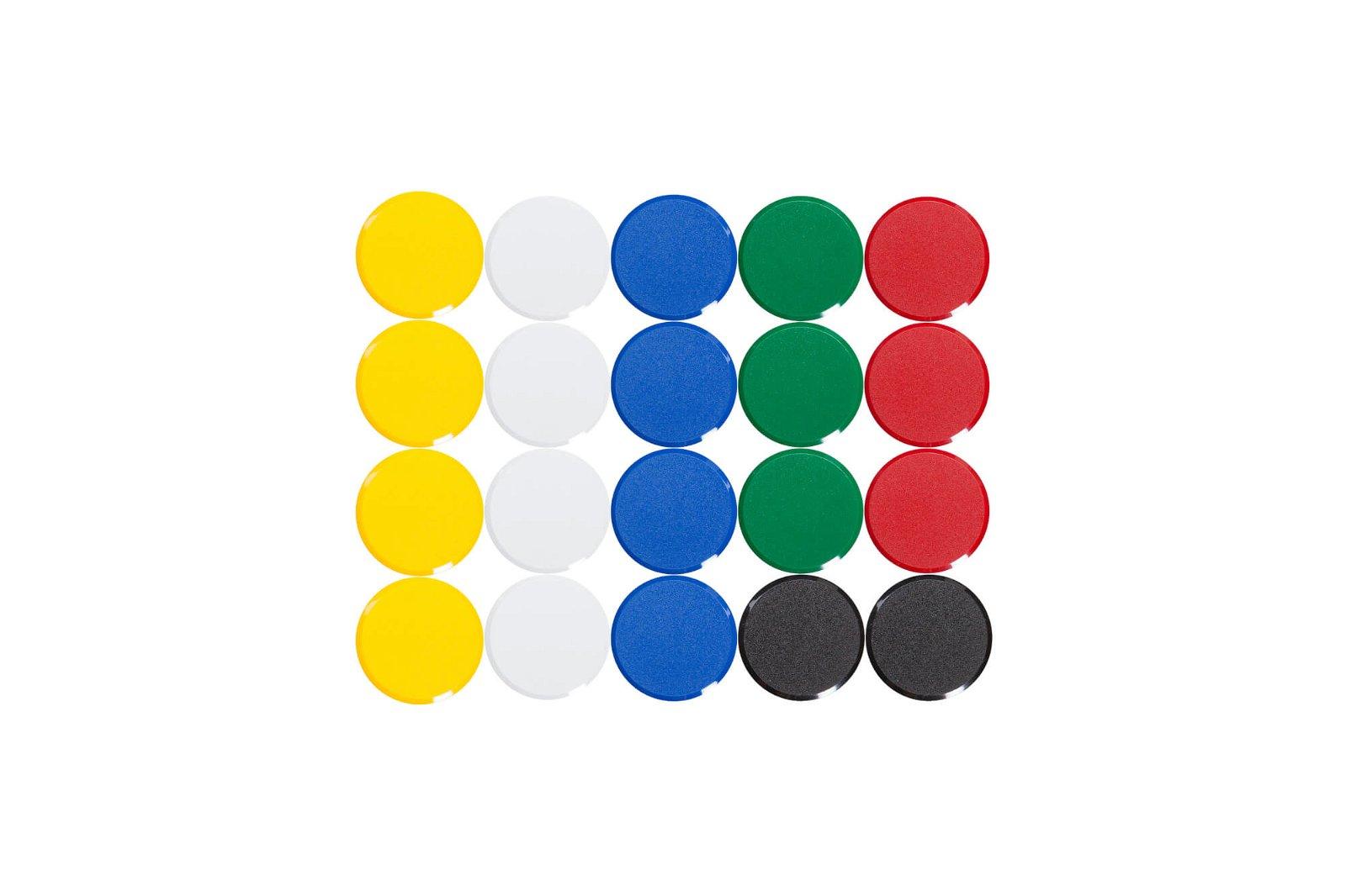 Facetterand-Magnet MAULpro Ø 30 mm, 0,6 kg, 20 St./Set, farbig sortiert