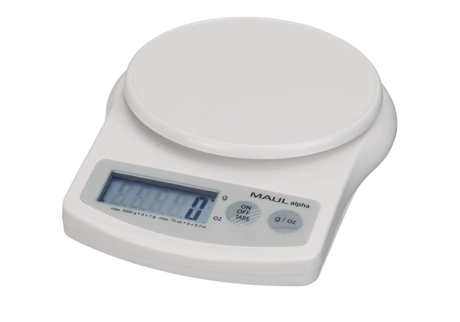 Briefwaage MAULalpha mit Batterie, 5000 g, weiß
