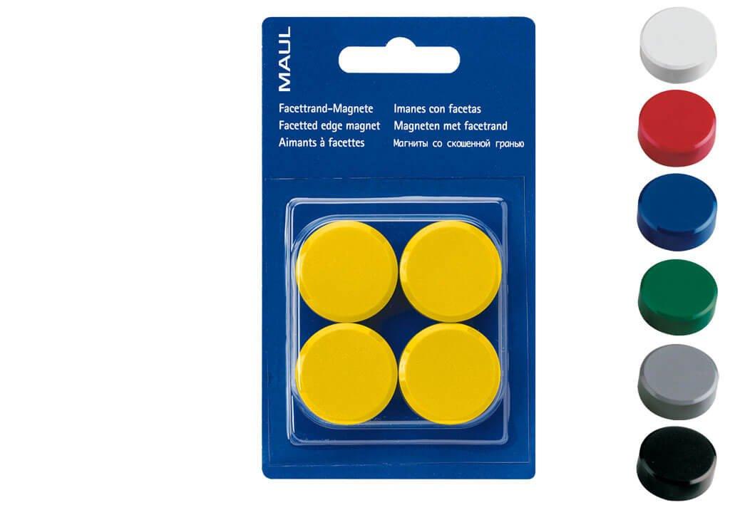 Facetterand-Magnet MAULpro SB Ø 30 mm, 0,6 kg, 4 St./Set, gelb