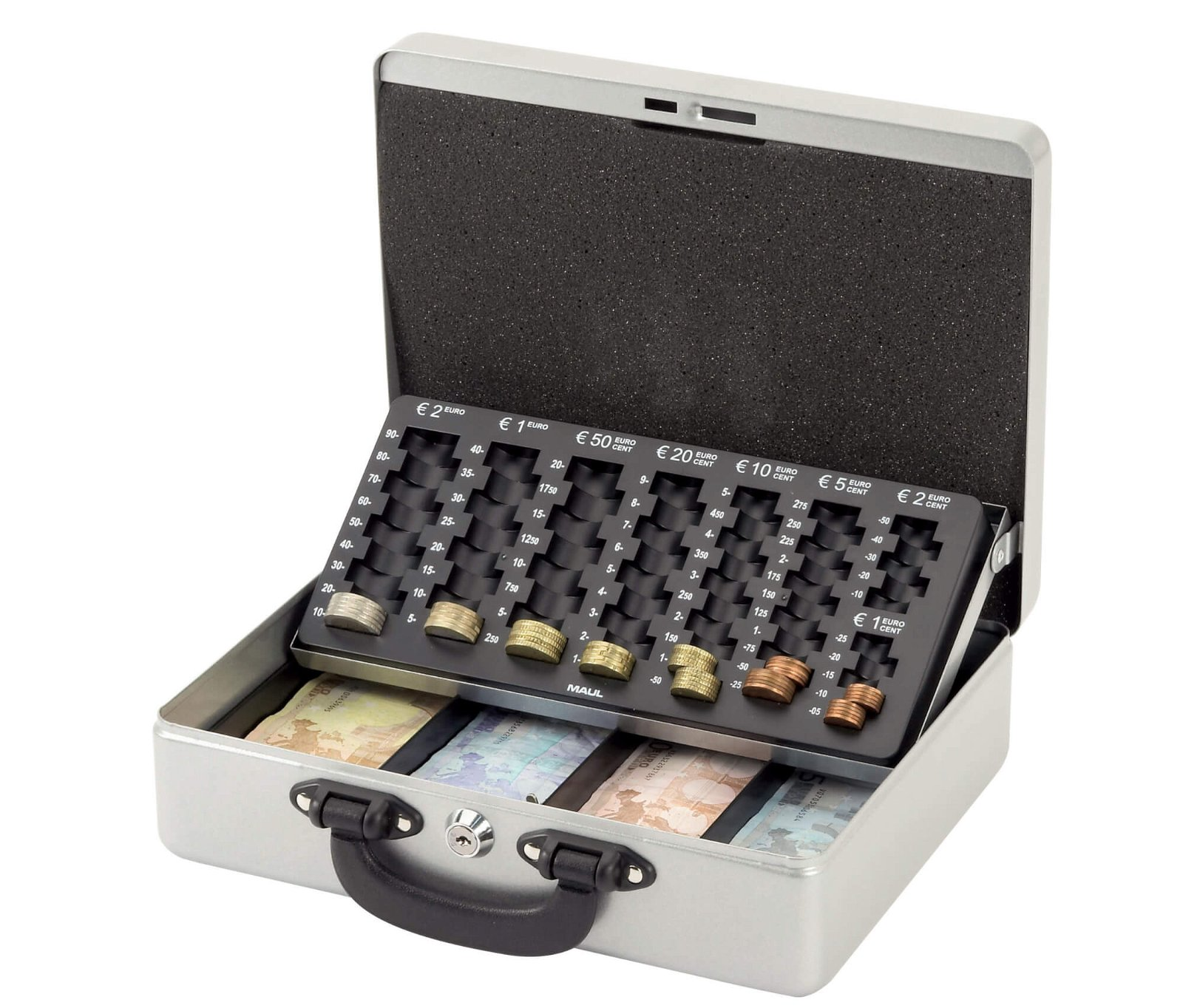 Geldkassette mit Euro-Zähl- -Einsatz, 30 x 24,5 x 9,3 cm, silber