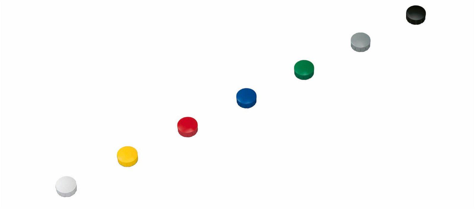 Magnet MAULsolid Ø 15 mm, 0,15 kg Haftkraft, 10 St/Ktn., farbig sortiert