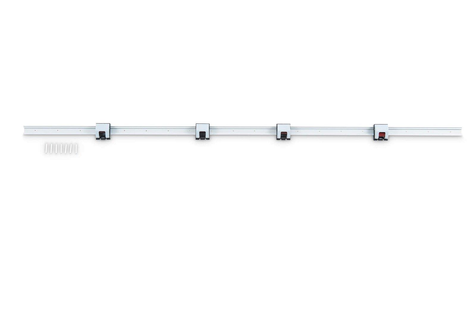 Rollenclip-Wandleiste, Länge 100 cm, grau