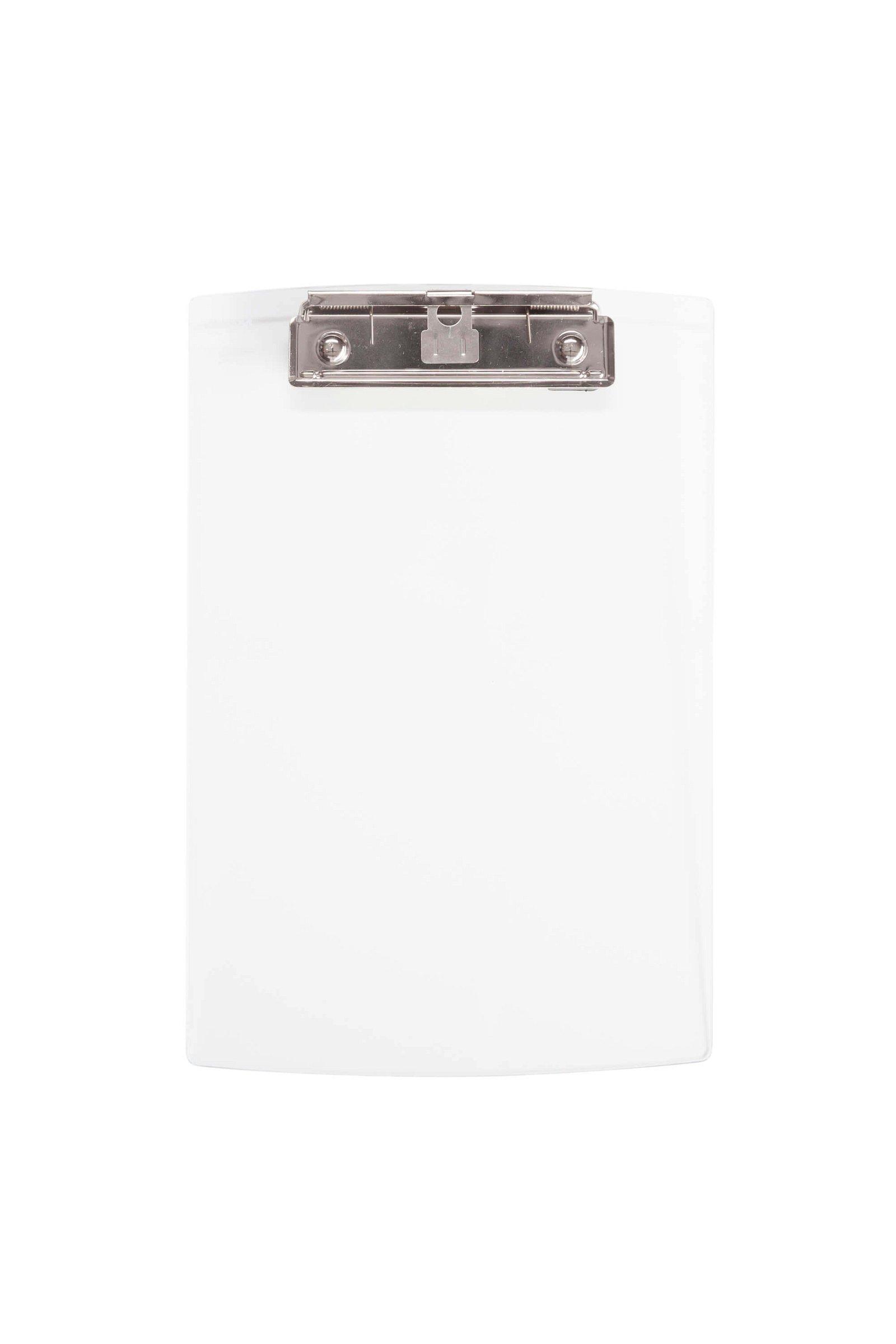 A5 Schreibplatte Acryl mit Bügelklemme, glasklar