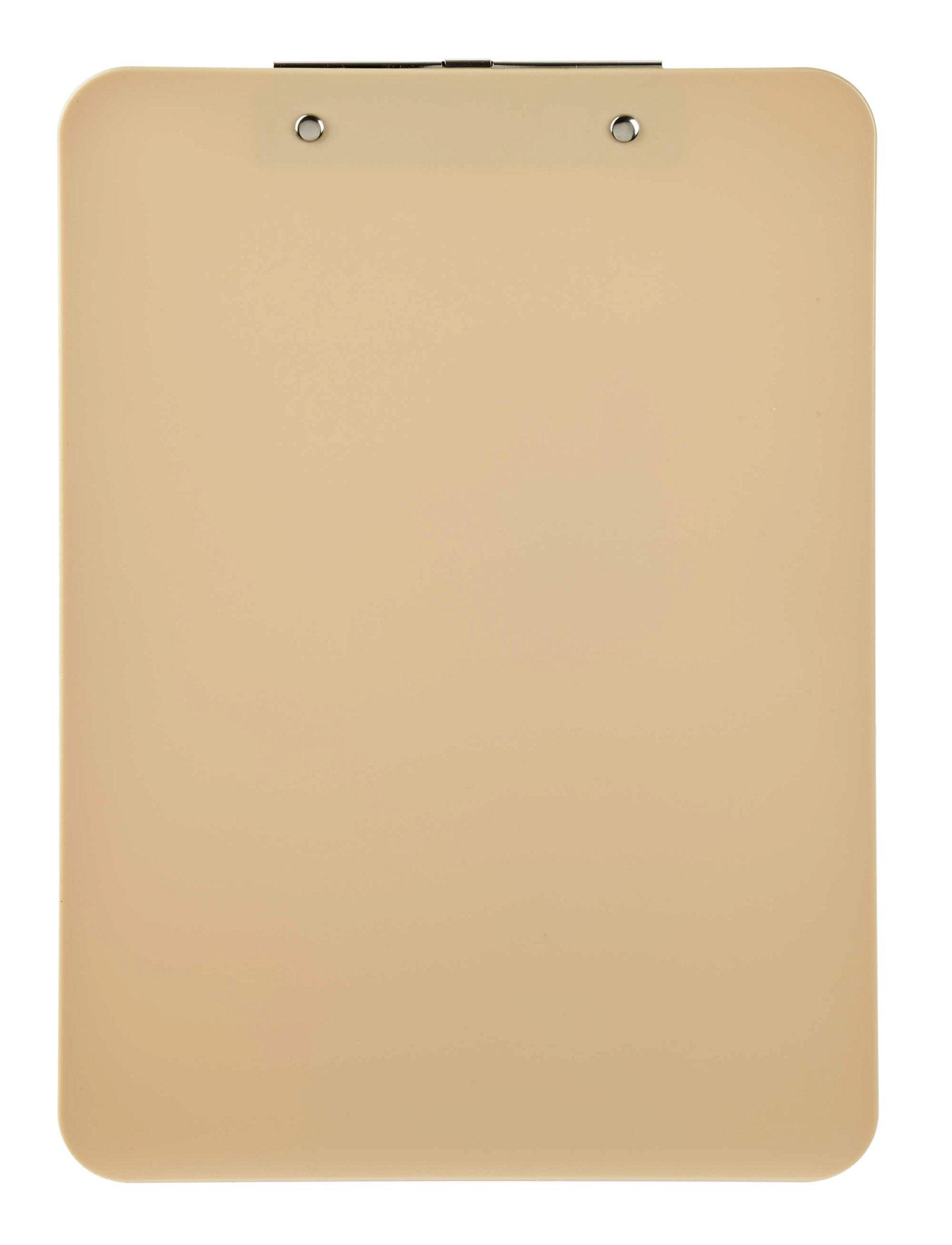 Schreibplatte, Kunststoff mit Bügelklemme, sand
