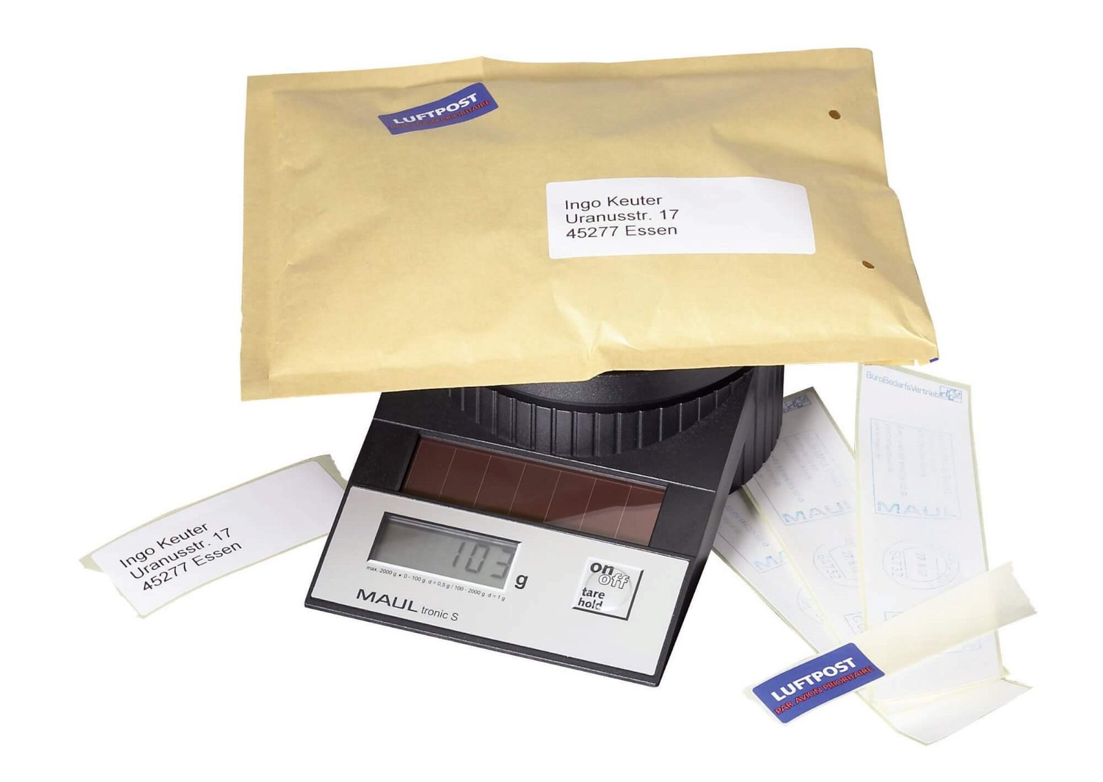 Solar-Briefwaage MAULtronic S, 2000 g, schwarz