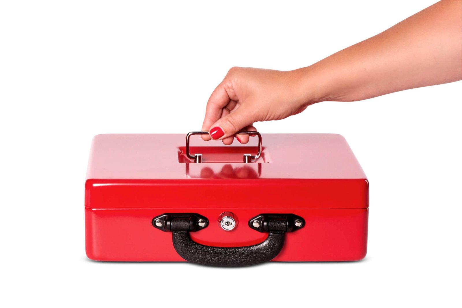 Geldkassette mit Euro-Zähl- -Einsatz, 30 x 24,5 x 9,3 cm, rot