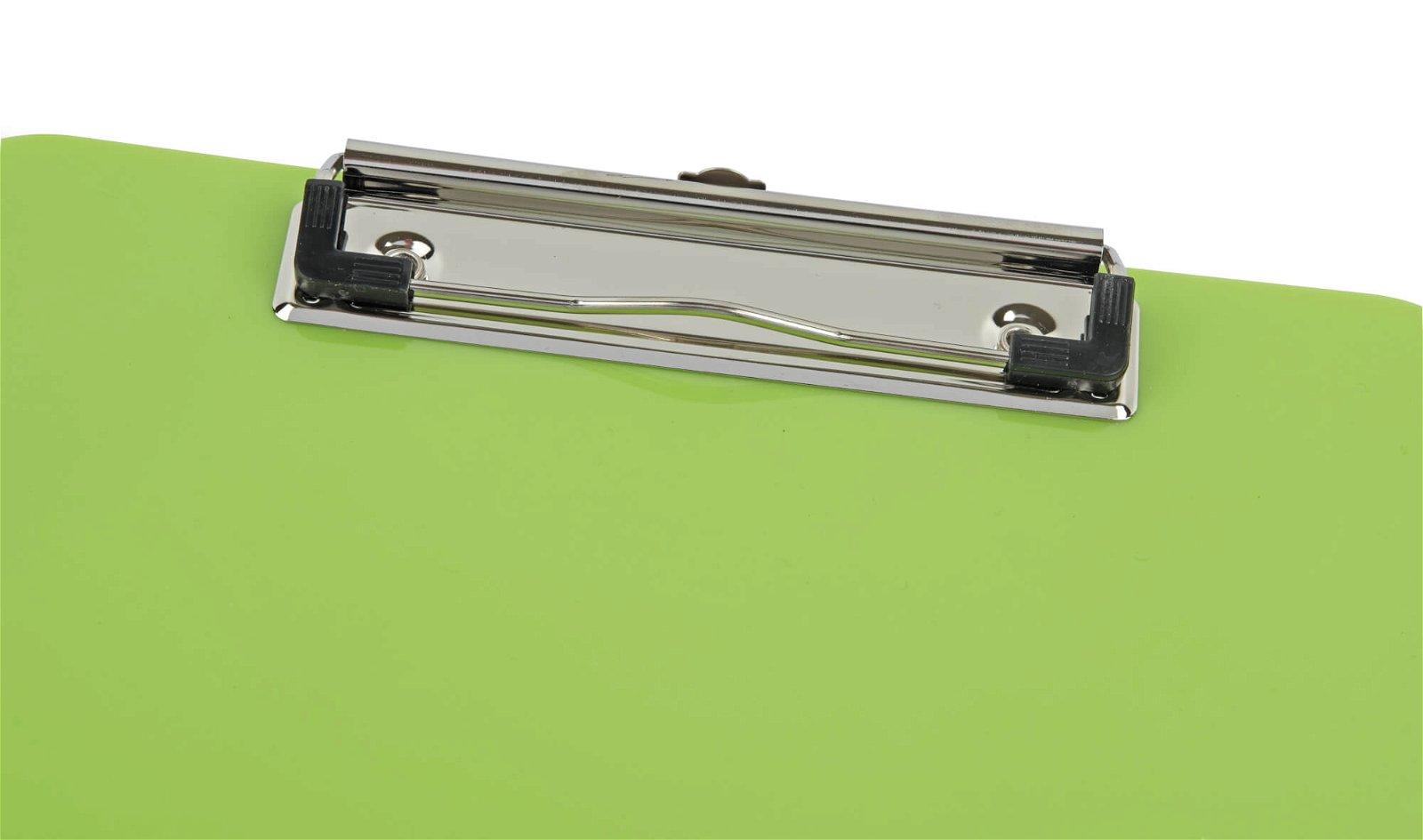 Schreibplatte, Kunststoff mit Bügelklemme, lime