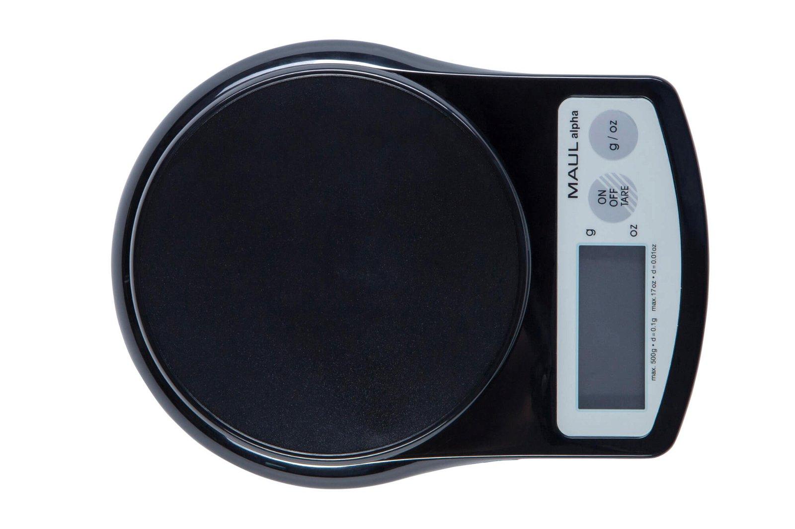 Präzisionswaage MAULalpha mit Batterie, 500 g, schwarz