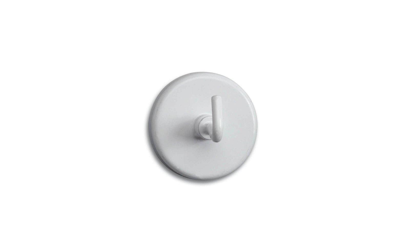 Kraftmagnet mit Haken Ø 36 mm, 6 kg Haftkraft, 5 St./Btl., weiß