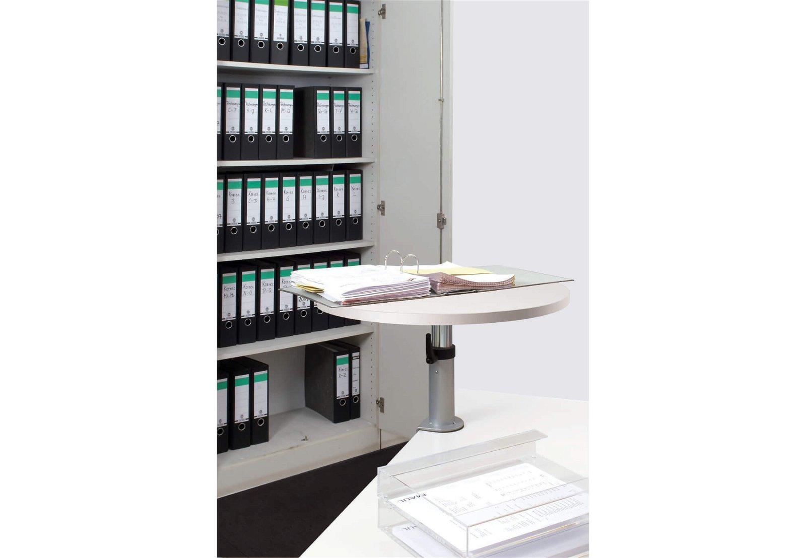 Ergonomisches Tischpult, Klem- mfuß, Platte aus Melamin, weiß