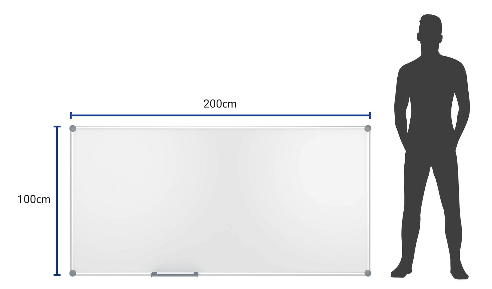 Whiteboard 2000 MAULpro, Emaille, 100x200 cm, grau