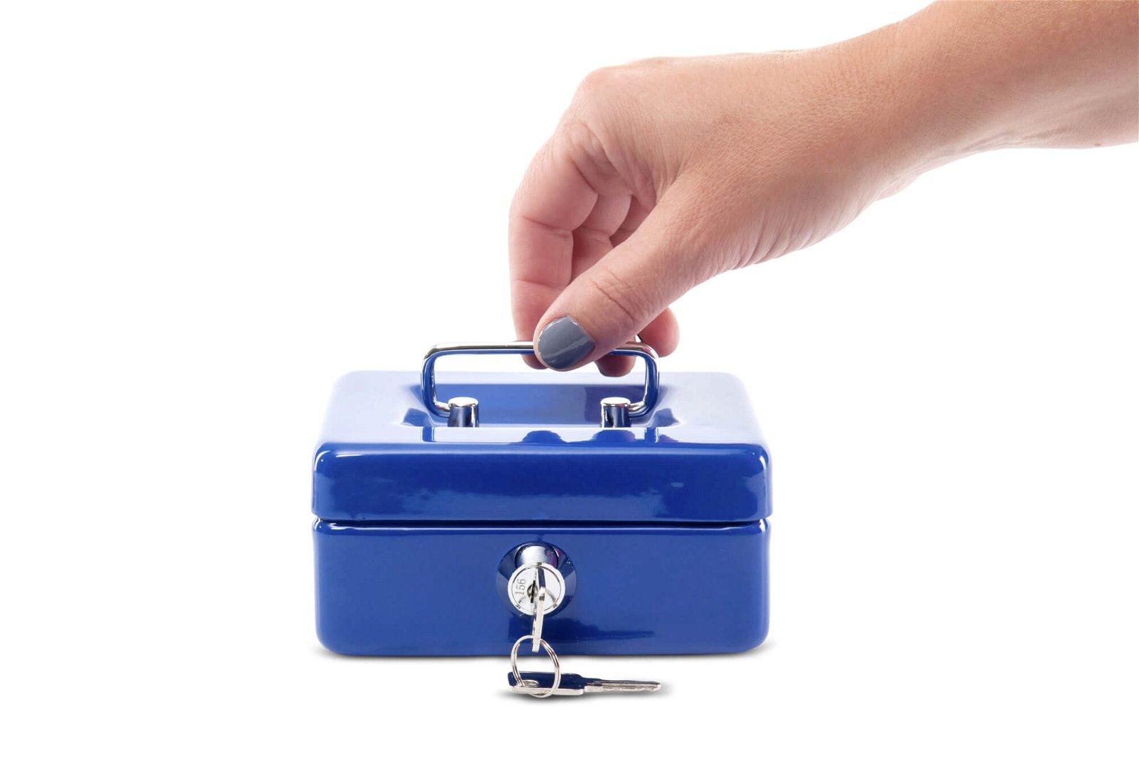 Geldkassette mit Münzeinwurf, 12,5 x 9,5 x 6 cm, blau