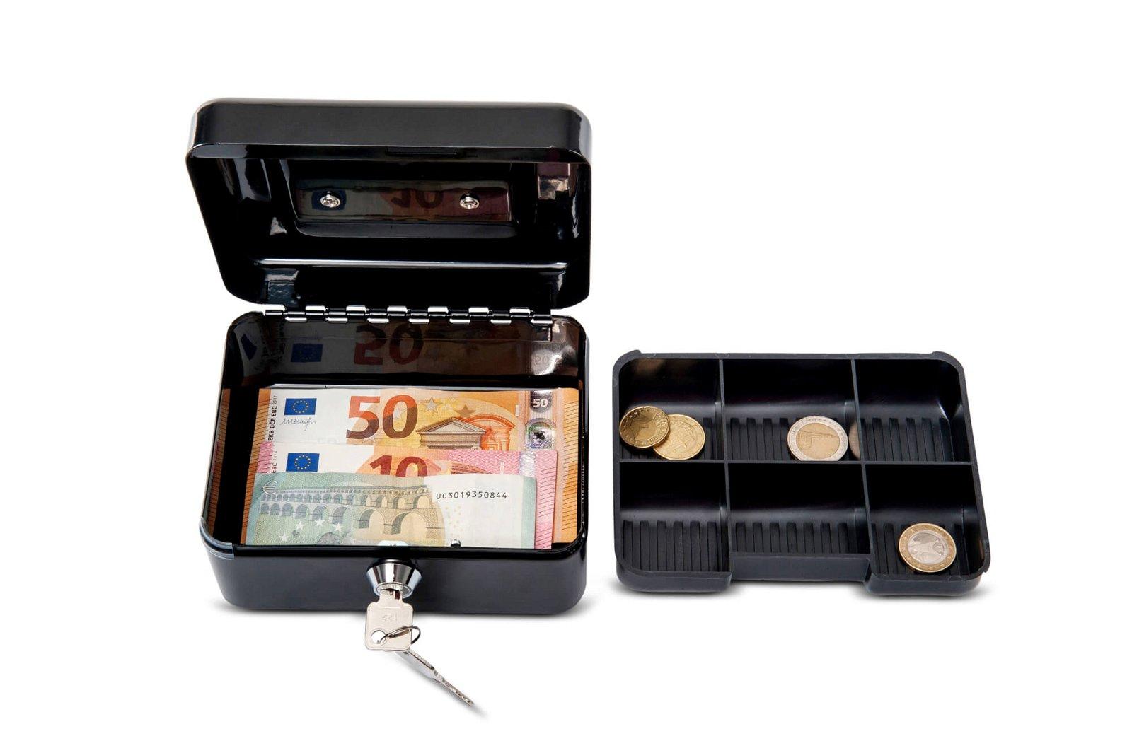 Geldkassette 1, 15,2 x 12,5 x 8,1 cm, silber