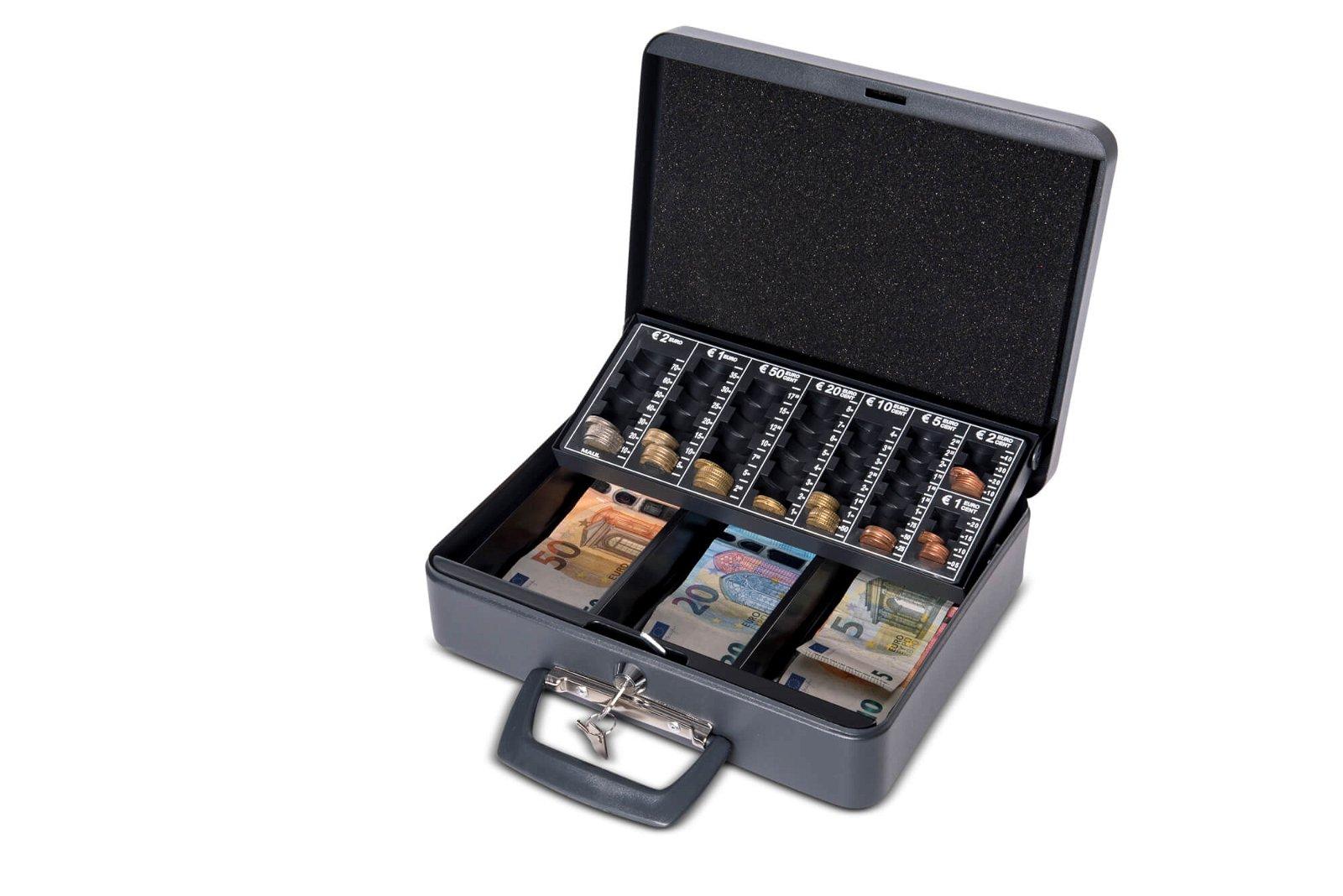 Geldkassette mit Euro-Zähl- -Einsatz, 30 x 25,8 x 9,0 cm, schwarz