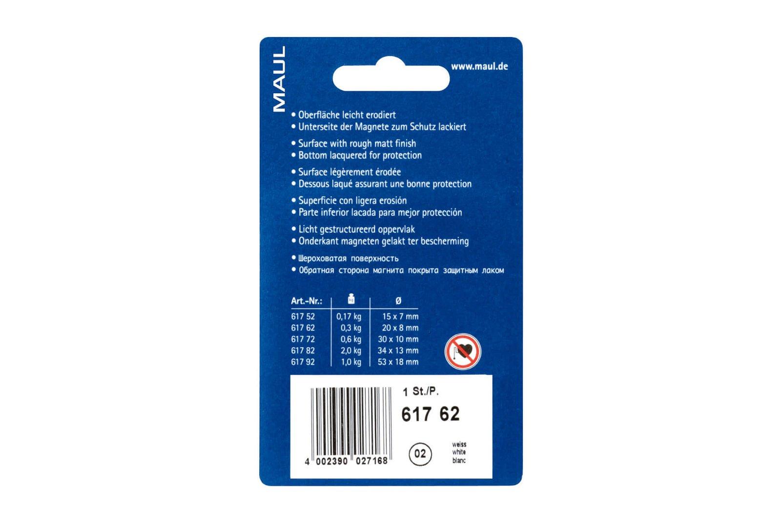 Facetterand-Magnet MAULpro SB Ø 20 mm, 0,3 kg, 6 St./Set, weiß
