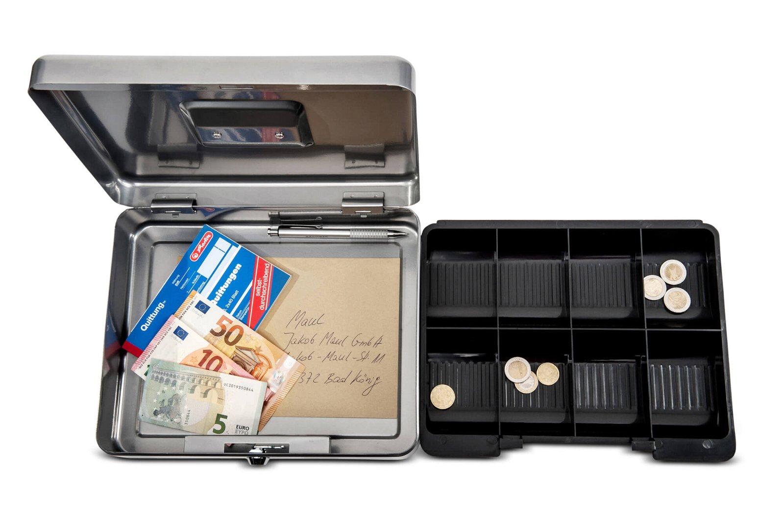Geldkassette 4, 30 x 24,5 x 9 cm, silber