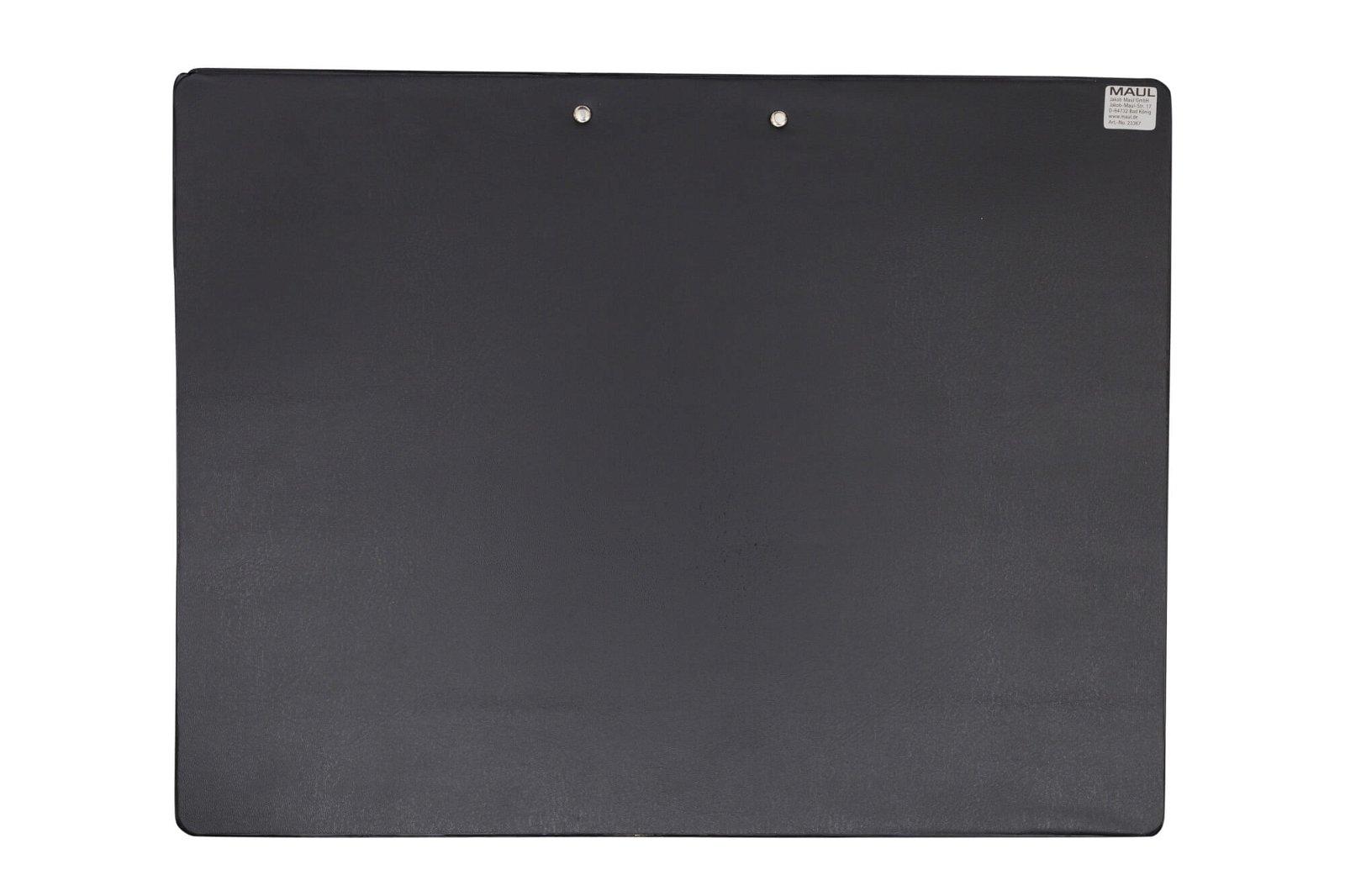 A4 Schreibplatte mit Folien- überzug, Klemmer lange Seite, schwarz
