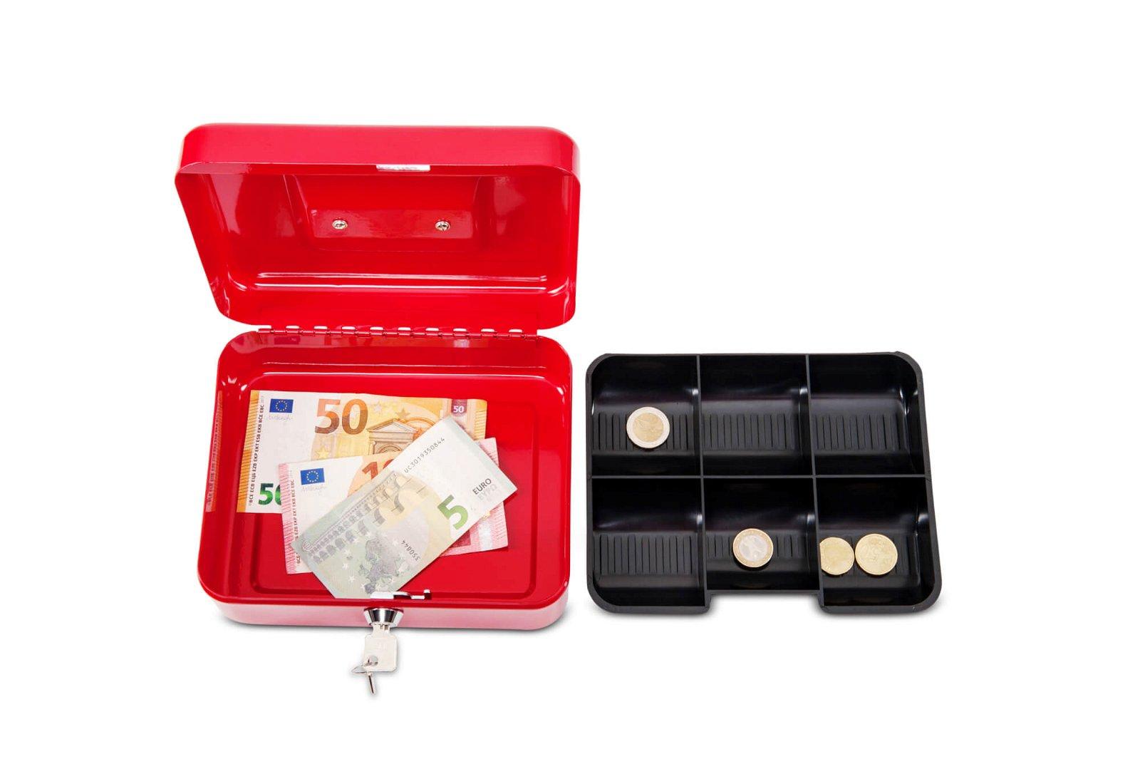 Geldkassette 2, 20 x 17 x 9 cm, rot
