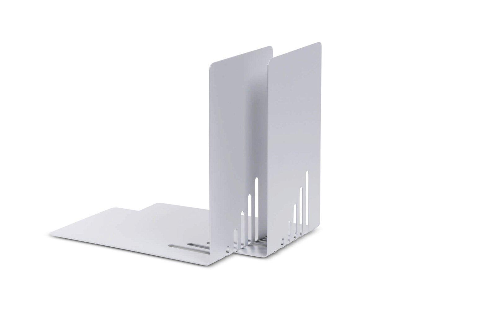 Buchstützen aus Metall, schmal, 14 x 8,5 x 14 cm, silber